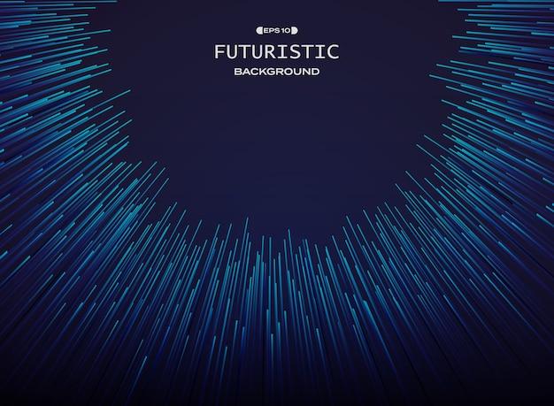 Linha futurista teste padrão da curva da tecnologia no fundo azul.