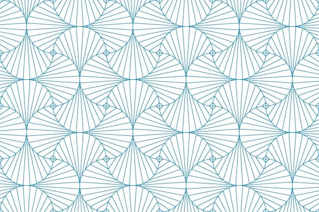 Linha geométrica abstrata linha azul sem costura padrão