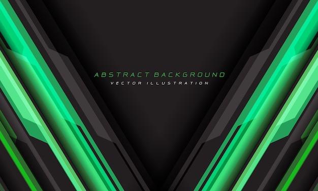 Linha geométrica cibernética cinza verde abstrata com fundo futurista de espaço em branco de triângulo.