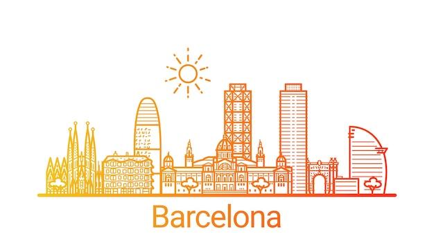 Linha gradiente colorida da cidade de barcelona