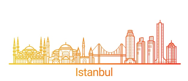 Linha gradiente colorida da cidade de istambul