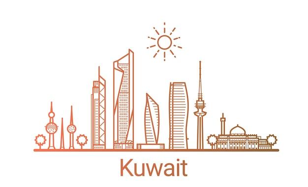 Linha gradiente colorida da cidade do kuwait