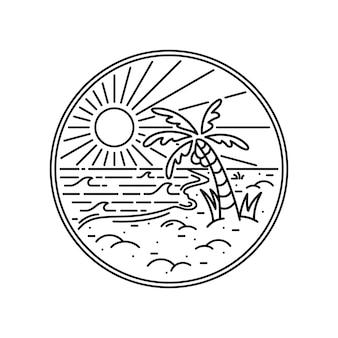 Linha gráfica de praia verão ilustração