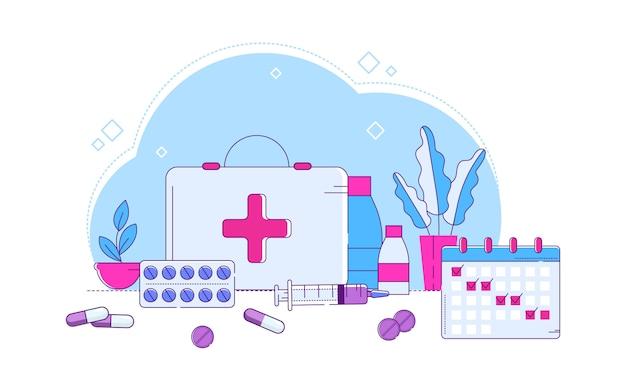 Linha ilustração de comprimidos médicos diferentes. kit de primeiros socorros, conjunto de dispositivos médicos e medicamentos projetados para ajudar.