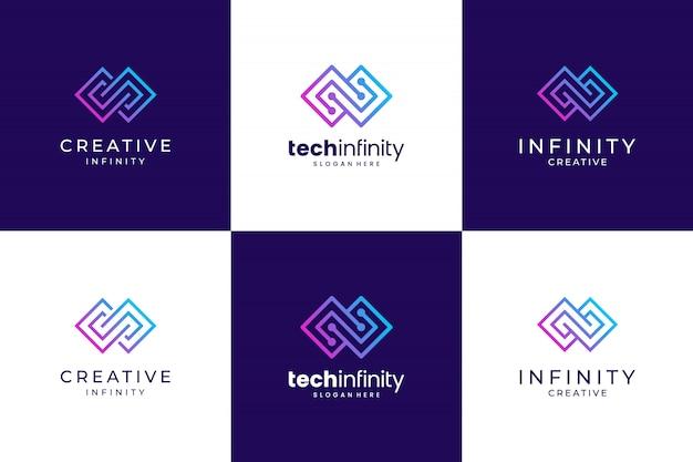Linha infinita de coleção. design de logotipo premium criativo.