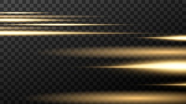 Linha luminosa com faíscas em um fundo preto, efeito da luz, cor dourada.