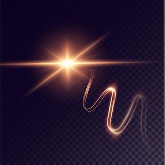 Linha luminosa dourada festiva confete brilhante com efeito de brilho dourado luz isolada ondulante