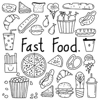 Linha mão desenhada doodle vector fast food set