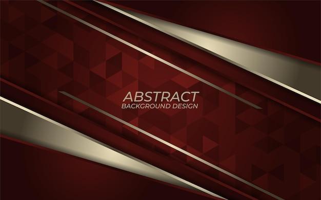 Linha metálica dourada abstrata sobre fundo vermelho. design de direção de sobreposição de luxo. pano de fundo vermelho moderno futurista.