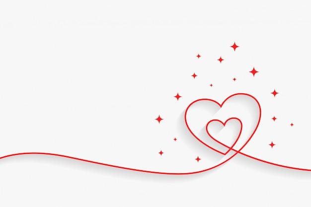Linha mínima coração fundo com espaço de texto