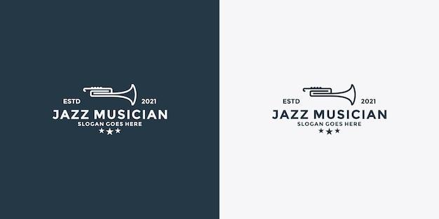 Linha minimalista arte saxofone jazz música design de logotipo em estilo vintage