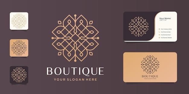 Linha minimalista da arte design.elegant modelo do monograma do boutique, elegante, cartão de visita.