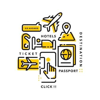 Linha moderna de viagem app infográfico