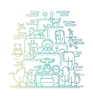 Linha moderna design plano composição do zoológico e com animais selvagens - gradiente de cores