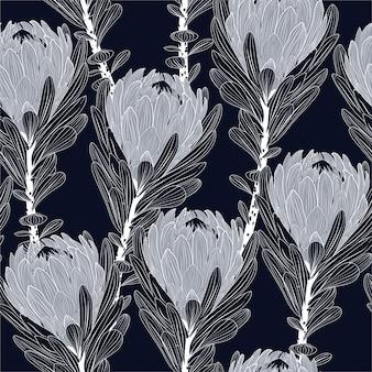 Linha moderna protea flor sem costura padrão elegante mão desenhada estilo, design de moda, tecido, papel de parede e todas as impressões