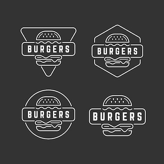 Linha mono logotipo emblema burger