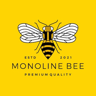 Linha monoline abelha contorno linha arte logotipo colorido
