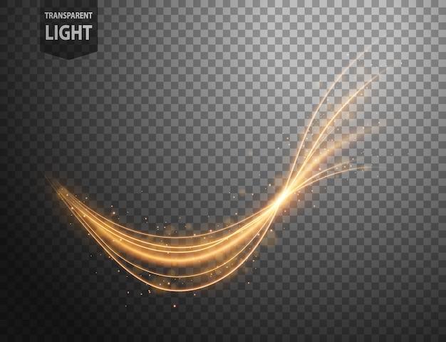 Linha ondulada de ouro abstrata de luz