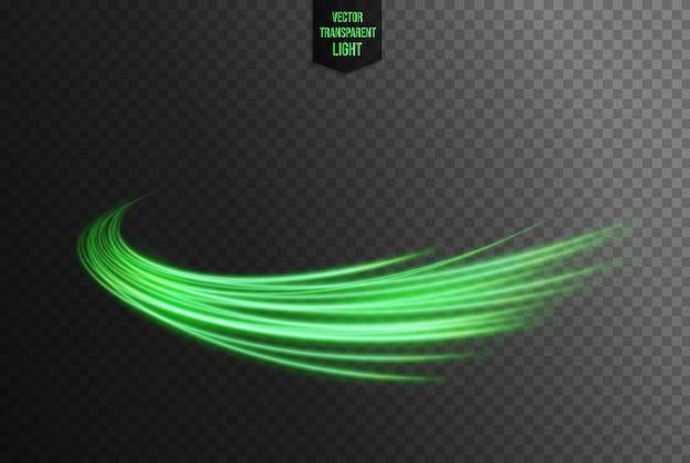 Linha ondulada verde abstrata de luzes