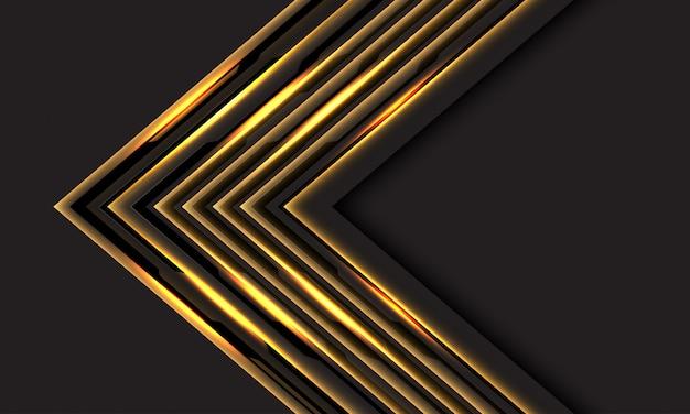 Linha ouro abstrata luz cyber seta direção cinza escuro espaço em branco fundo tecnologia futurista de luxo.