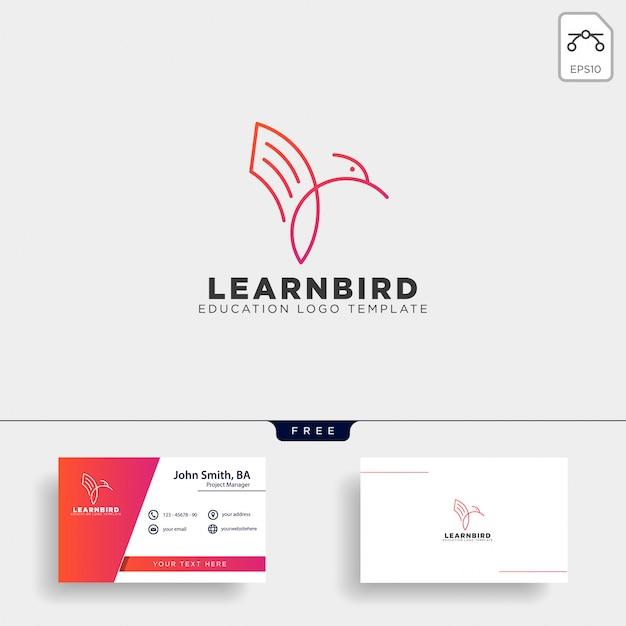 Linha papel ou livro pássaro logotipo modelo ilustração vetorial