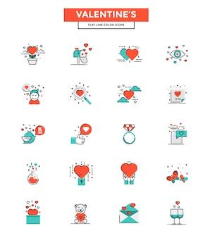 Linha plana cor ícones-dia dos namorados