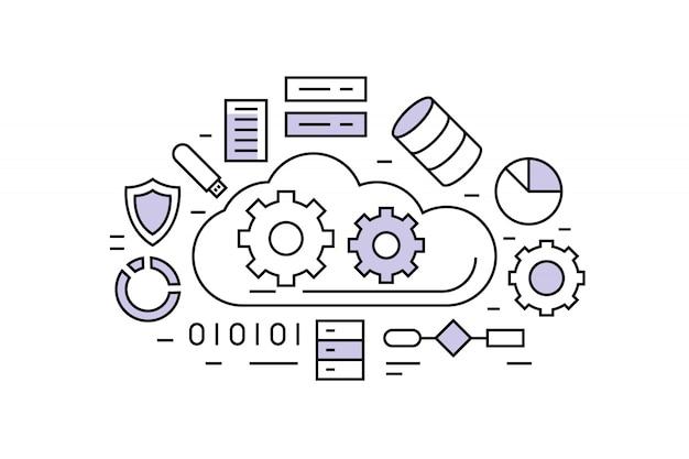 Linha plana de big data