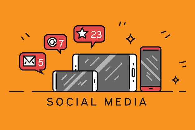 Linha plana de mídia social