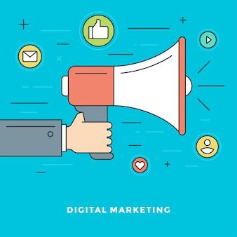 Linha plana, marketing digital, conceito, ilustração