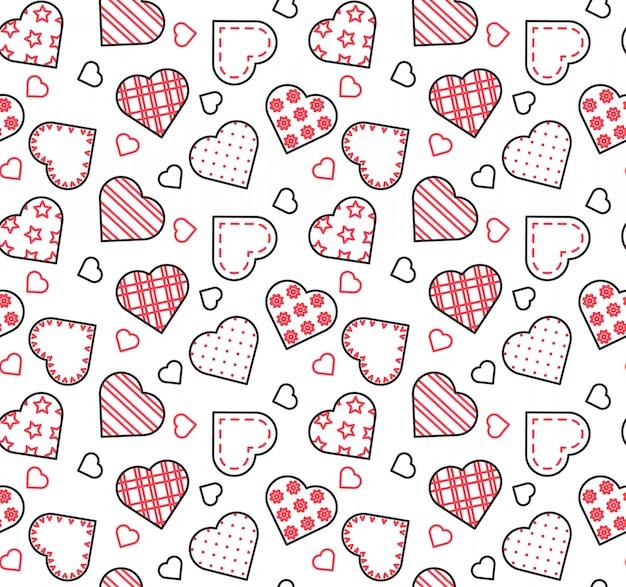 Linha preta, branca e vermelha sem costura padrão para dia dos namorados, amor, tema de data.