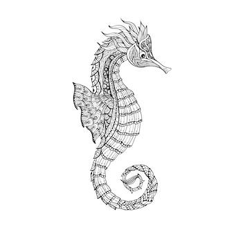 Linha preta de cavalo-marinho do esboço de doodle