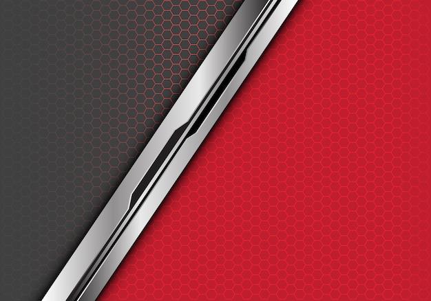 Linha preta de prata fundo cinzento vermelho da malha do hexágono.