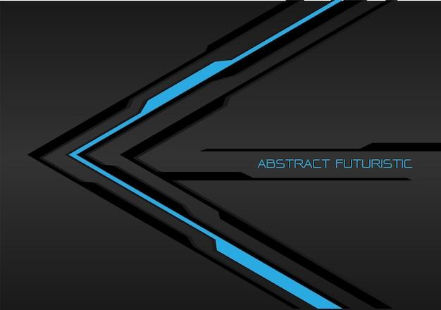 Linha preta do azul escuro da seta - fundo futurista cinzento.