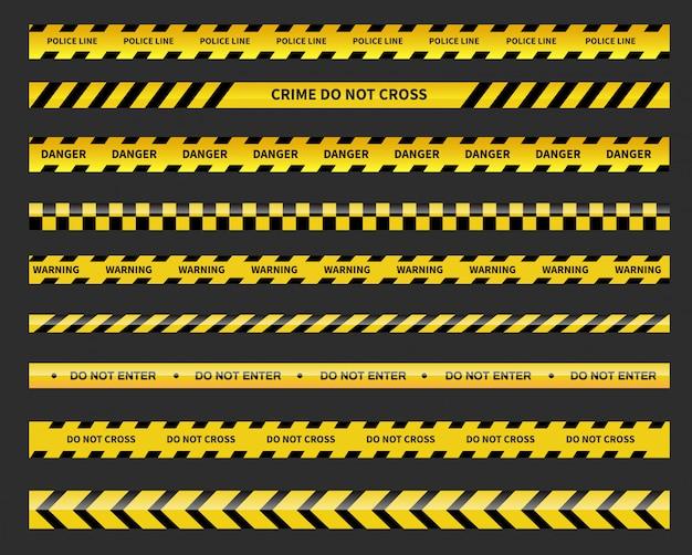 Linha preta e amarela listrada. linha de polícia. fitas de cuidado e perigo.