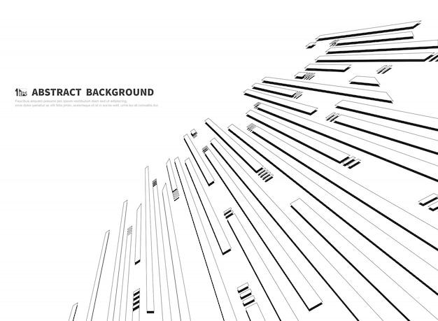 Linha preto e branco abstrata de fundo de tecnologia.