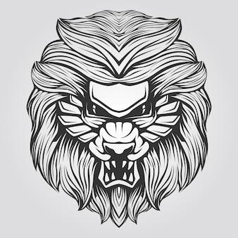 Linha preto e branco de leão abstrato