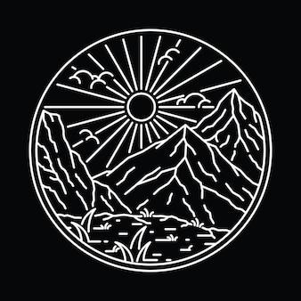 Linha selvagem natureza ilustração gráfica arte t-shirt design