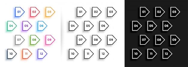 Linha seta estilo direção bala pontos grande conjunto
