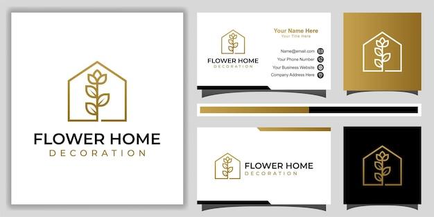 Linha simples de flor de rosa luxuosa e elegante com ícone de casa para decoração de casa, logotipo de casa de fazenda