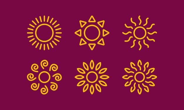 Linha simples desenho sol coleção cor amarela natureza verão quente ilustração vetorial