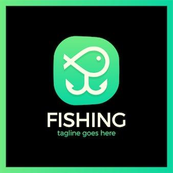 Linha simples pesca dois âncora logotipo