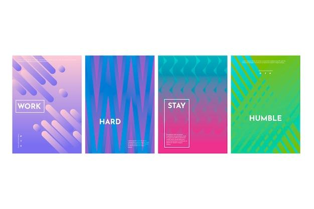 Linhas abstraem coleção de capa de gradiente