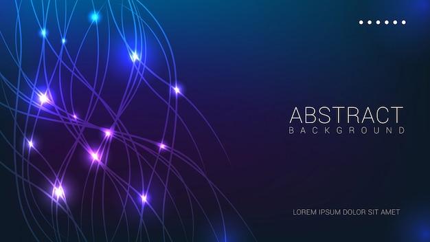 Linhas abstratas com fundo azul luzes