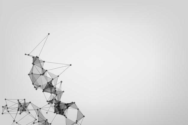 Linhas abstratas de baixo poli malha branca. tecnologia de fundo conectando pontos e linhas.