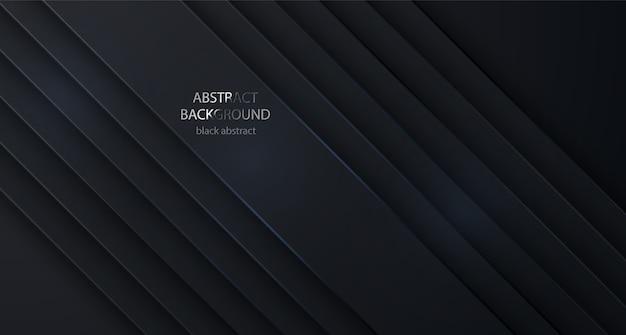 Linhas abstratas de fundo preto. projeto textura preta geométrica. abstrato 3d com camadas de papel preto