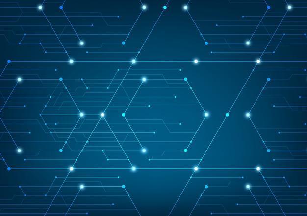 Linhas abstratas e pontos se conectam