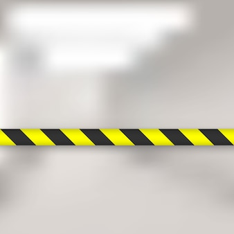 Linhas amarelas e pretas de fita de barreira. cerco de pólo de fita de advertência é protege para nenhuma entrada