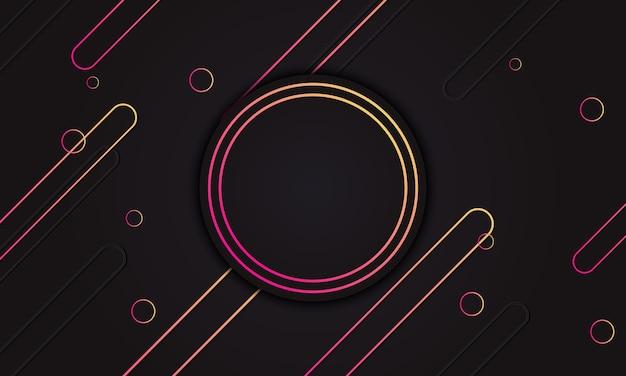 Linhas arredondadas gradientes amarelas e vermelhas com um círculo no meio para texto. plano de fundo para o banner.