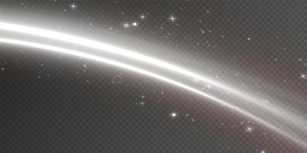 Linhas brancas luminosas de velocidade. efeito de luz brilhante. linhas de movimento abstratas. onda de trilha leve.