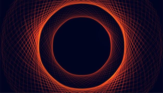 Linhas circulares brilhantes se misturam ao fundo brilhante